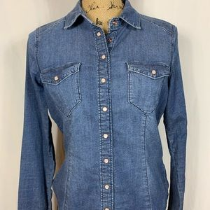 H&M Fitted Denim Shirt With Snaps Size Small